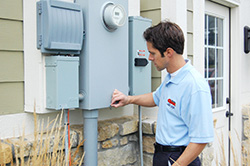 Mister Quik electrician providing electrical repair at an Indianapolis home