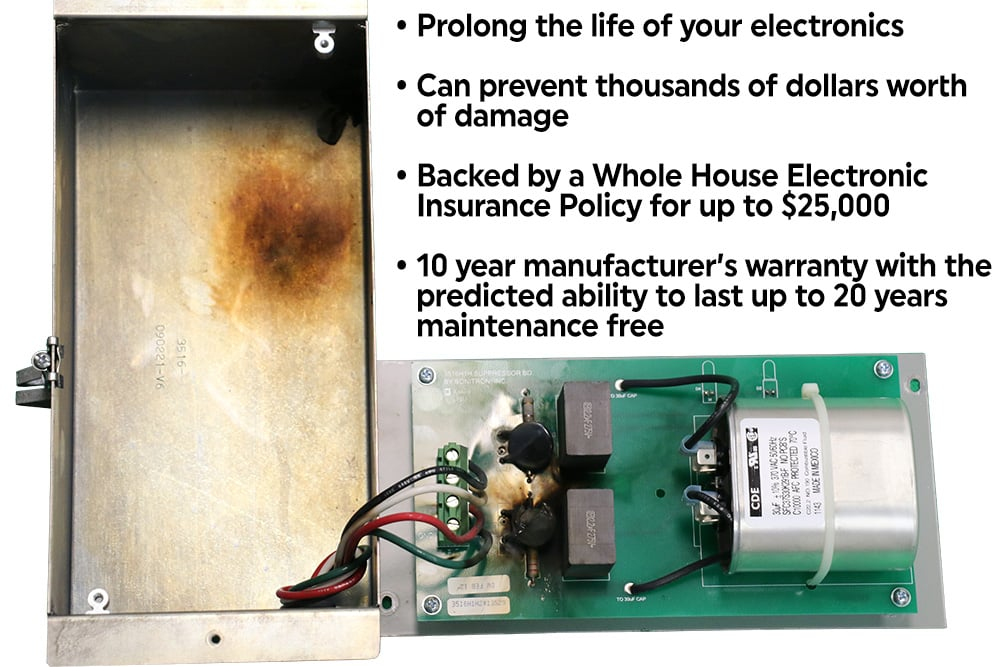 Electronic Protection PowerWorx E-3   Prolong the life of your electronics; Can prevent thousands of dollars worth of damage; Backed by a Whole House Electronic Insurance Policy for up to $25,000; 10 year manufacturer's warranty with the predicted ability to last up to 20 years maintenance free